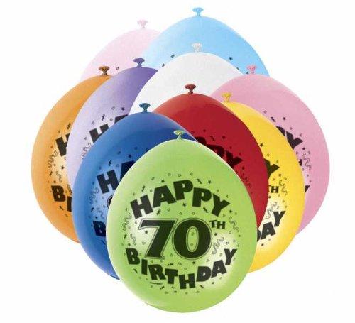 (70th Happy Birthday Latex Balloons 10pk)