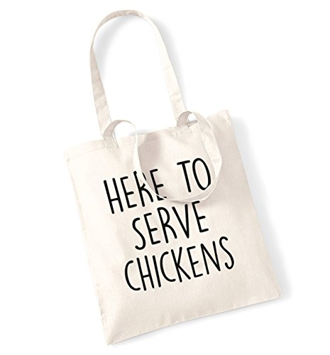 Here to serve chickens tote bag