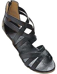 Yying Frauen Sandalen Sommer Wohnungen Schuhe Römersandalen, Peep Toe Sandalen, Reißverschluss Riemchen Flach Sandaletten/Strandschuhe/Roma Schuhe