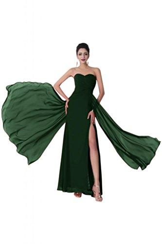 Sunvary elegante Chiffon Prom abiti Ribonn Sexy con tasca anteriore Verde scuro