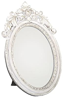 Antique Style Ornate Oval Freestanding Dressing Table Mirror White And Gold Frame 24Cm X 16Cm - cheap UK light store.