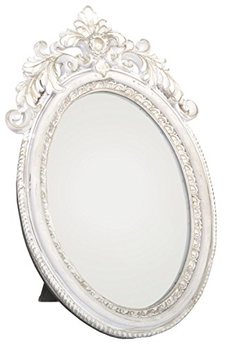 Antique Style Ornate Oval Freestanding Dressing Table Mirror White And Gold Frame 24Cm X 16Cm by...