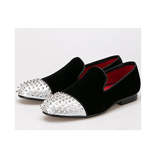 OCHENTA Herren Handgemacht Samt Schuhe mit Niet Leder Toe-Mode Loafers Rauchen Slipper Männer Schwarz