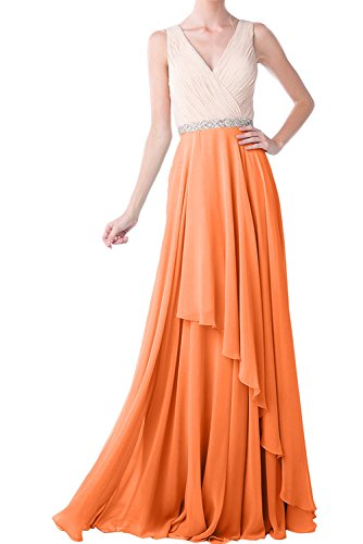 Ivydressing Damen Einfach V-Ausschnitt Abendkleider Lang Chiffon Festkleid Ballkleider Orange