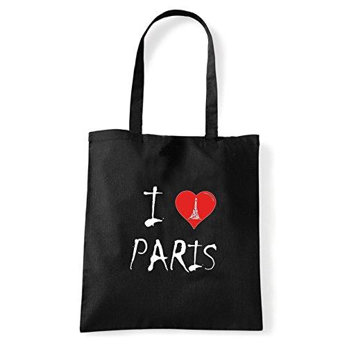 Art T-shirt, Borsa Shoulder I Love Paris, Shopper, Mare Nero