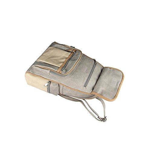 OBC ECHTES Leder Rucksack Cityrucksack City Tasche Stadtrucksack BackPack SchulterTasche Organizer Tablet Ipad mini bis ca. 10 Zoll (Schwarz V5) Grau-Beige 30x32x15