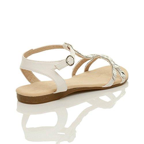 T barrette Verão Diamante Cinta alça De T Tamanho Strappy Senhoras Tornozelo Branco Plana Strass sandálias xWzqS8nwY