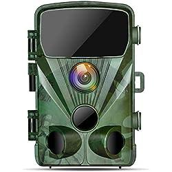 TOGUARD Caméra de Chasse 20MP 1080P Caméra de Surveillance Étanche,Caméra de Faune avec Détecteur de Mouvement à Vision Nocturne Infrarouge, Caméra de Jeu Grand Angle 130°