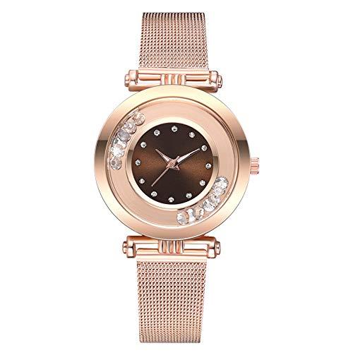 Tlfyajj orologio da polso analogico al quarzo con cinturino a maglie quadrante rotondo con cinturino in lega di strass per molte occasioni, facilmente abbinabile. marrone