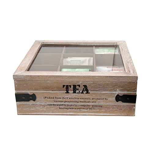 Toci - scatola da tè in legno con 9 scomparti e coperchio | 24x 24x 8,5cm (l x p x h) | look vintage