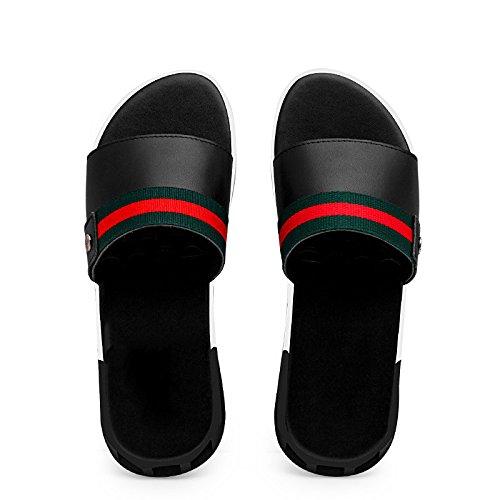 Moda pantofole inglese, sandali degli uomini, in vera pelle traspirante ciabatte, scarpe da spiaggia degli uomini, il nero, US8.5-9 / EU41 / UK7.5-8 / CN4 US8.5-9/EU41/UK7.5-8/CN42