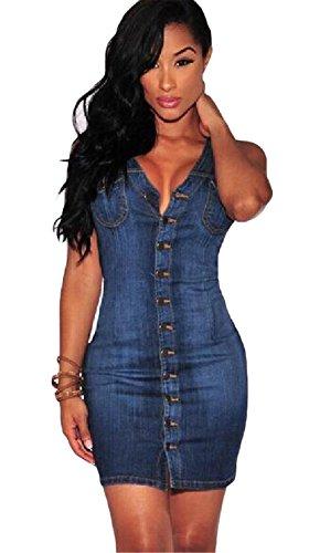 Womens Sexy Rundhalsausschnitt Sleeveless Backless Reißverschluss-Denim-Kleid Paket-Hüfte-Kleid Blau