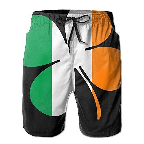 Jiger Irish Flag with Shamrocks Men's Polyester Beachwear Board Shorts Quick DryXL -