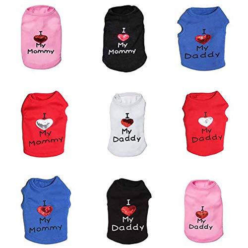 CplaplI Haustierkleidung I Love My Mommy/Daddy mit Buchstaben Bedruckt, - Kleine Mädchen Kitty Katze Kostüm