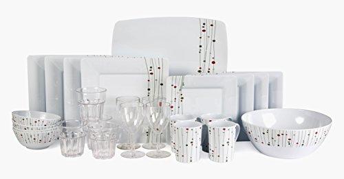 Melamingeschirr 26 Teile Linea Design inkl. Schüssel+Brotplatte 4x Weinglas 4x Wasserglas