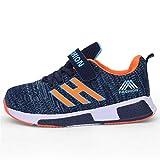 Powtech Hallenschuhe Kinder Turnschuhe Jungen Sport Schuhe Mädchen Kinderschuhe Sneaker Outdoor Laufschuhe für Unisex-Kinder (CN37=EU36, 861-Orange blau)