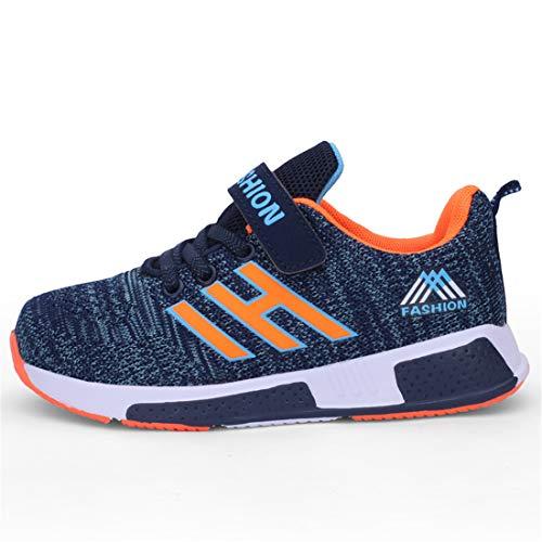 Hallenschuhe Kinder Turnschuhe Jungen Sport Schuhe Mädchen Kinderschuhe Sneaker Outdoor Laufschuhe für Unisex-Kinder (CN34=EU33, 861-Orange blau)