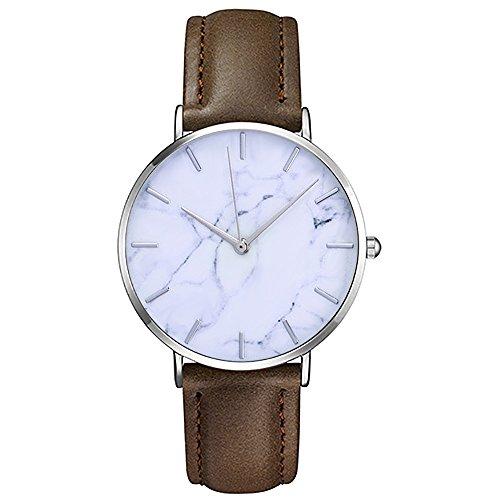 Mode Klassisch Unisex Damenuhren Herrenuhren PU Lederband Anolog Armbanduhren für Männer Frauen (B)