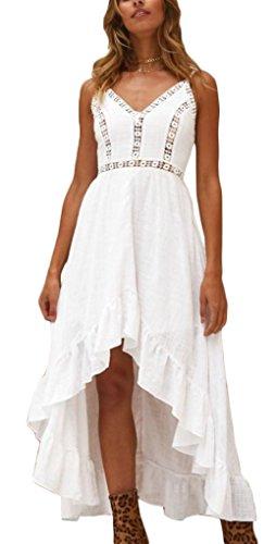 Ufatansy Damen Sommerkleider Spitze Lange Ärmel Schulterfreies Kleid Weißes Strandkleid Swing Boho...