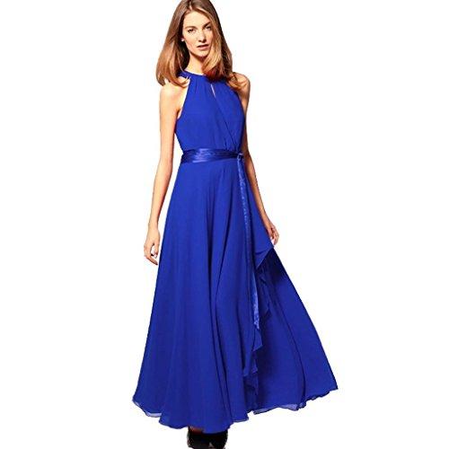 Minetom Donna Estate Vestito Lungo Chiffon Maxi Dress Sexy Elegante Halterneck Senza Maniche Abito da Sera Blu reale
