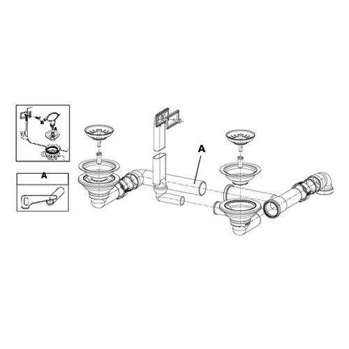 Ab- und Überlaufgarnitur für Cora 150 CNS / Rieber / Ersatzteil /