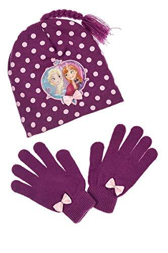 Frozen - Die Eiskönigin Disney Anna Elsa Kinder-Winter Set -tlg. Mütze & Handschuhe Lila 52