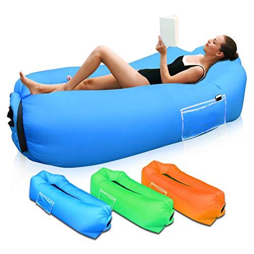 Sofá Hinchable para Interiores y Exteriores, Portátil Impermeable Sofa Cama Hinchable,Almohada incorporada y Bolsa de Almacenamiento incluida Aire sofá para Playa,Camping,Viajes, Piscina (Azul)