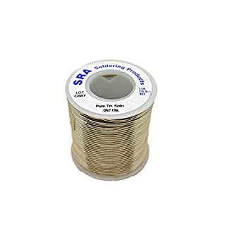 SRA Soldering Products WBSPTIN62 Lead Free Solid Core Solder, Pure Tin .062-Inch, 1-Pound Spool