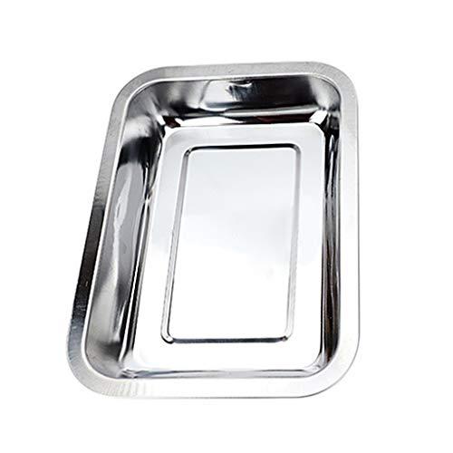 Lindahaot 5Pcs Rechteck Edelstahl Lebensmittel Serviertablett Compact Toaster Pan Flach Ovenware mit Deep Rand - Edelstahl-lebensmittel-fach