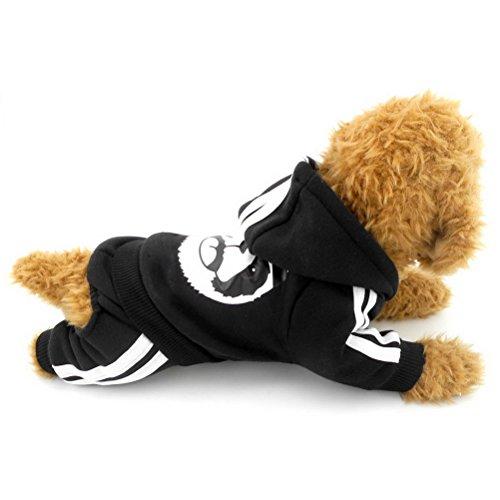 zunea Panda Dick mit Kapuze kleine Hunde Katze Jumpsuit Hoodies Fleece Winter Warm Pet Puppy Pullover Coat Jersey Kleidung (dieser Style Run klein, wählen Bitte eine Größe größer) (Schlafanzug Thermische Kleidung Hund)