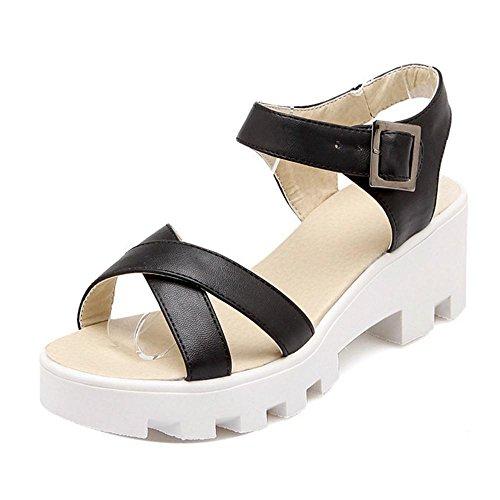 TAOFFEN Femmes Chaussures Confortable Bloc Talons Moyen Plateforme Sandales De Boucle Noir