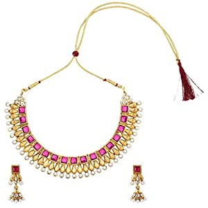 Dancing Girl Kundans Bridal Rani Pink Metal Alloy Jewellery Set with Necklace and Earring for Women