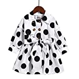Bambini Bambini Bambina Vestiti Cappotto Bambini Tops a Maniche Lunghe Polka DOT Felpa Windbreaker Rock Shirt Abito Bianco 3-4 Anni