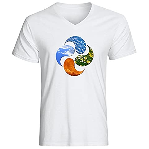 Four elements water earth air fire logo dope t-shirt homme col V coton X-Large