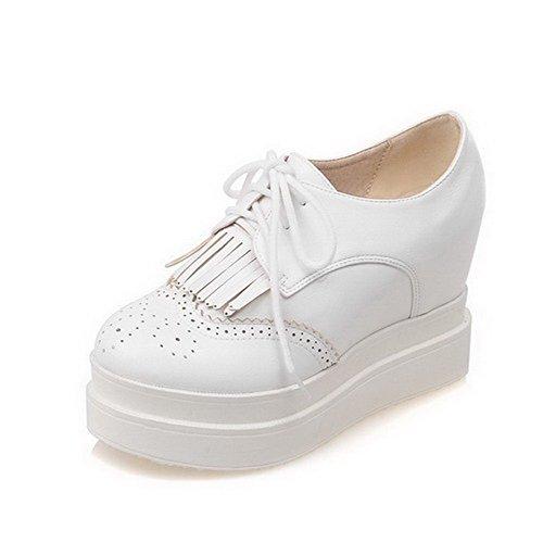 VogueZone009 Femme à Talon Haut Couleur Unie Lacet Matière Souple Rond Chaussures Légeres Blanc