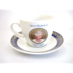 Queen Elizabeth II Diamond Jubilee 1952–2012 Teetasse und Untertasse Portrait and Crown