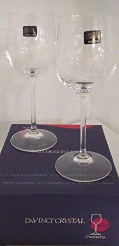 Rcr davinci crystal set 2 pz bicchieri per passito moscato/ vino liquoroso/ liquore dolce / vin santo/ vino bianco in finissimo vetro cristallino.