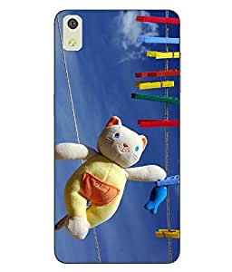 Make My Print Teddy Bear Printed Blue Soft Back Cover For LYF WATER 8