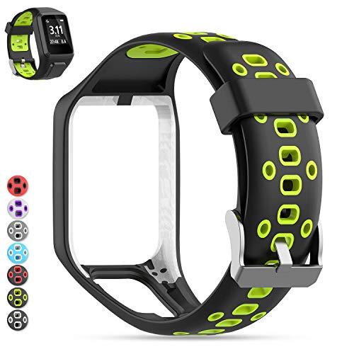 MOGOI Tomtom Uhrenarmband, [Aufgerüstet] Silikon Ersatz Uhrenarmbänder Straps Sport Armband für Tomtom Runner 2/Runner 3/Spark 3/Abenteurer/Golfer 2 Sport GPS-Lauf (Schwarz + Lime)