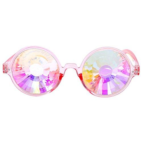 sunnymi Party Sonnenbrille Kaleidoskop Rave Festival,Bunte Gläser EDM,Modellierung Fotografie,Geeignet Für Gesichtsform Rundes Gesicht Langes Gesicht Quadratisches Gesicht Ovales Formgesicht (B, rosa) (Papier-modellierung)