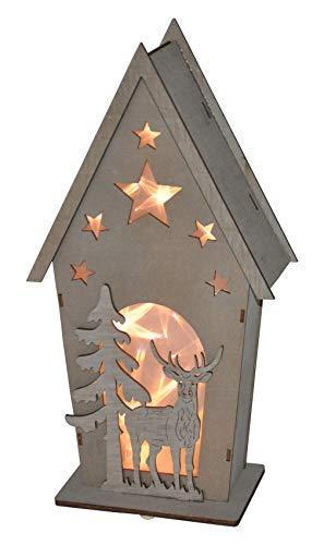 Buri LED Deko-Holz-Häuschen mit Hirsch und Tanne Weihnachtsdeko Fensterdeko Tischdeko