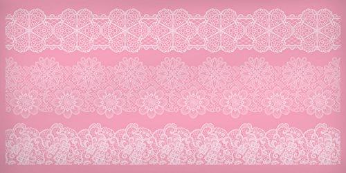 Kitchen Craft - 39 x 19,5 cm, alfombrilla de silicona para repostería, decoración de encaje, Rosa