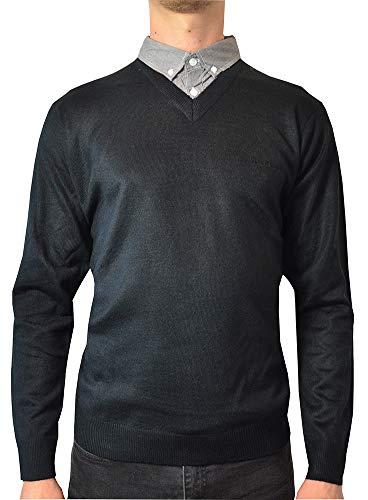 Pierre Cardin neue Jahreszeit V-Ausschnitt-Pullover mit Hemdkragen Mock Hemd Einsatz (2XL, Black)