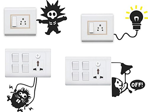 Decor KAFE Funny Switch Board Wall Sticker Set of 4