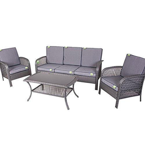 Bakaji salotto completo da giardino set sofà tavolo rettangolare + 2 poltrone + divano 3 posti modello premier in acciaio e polyrattan arredamento esterno (grigio)