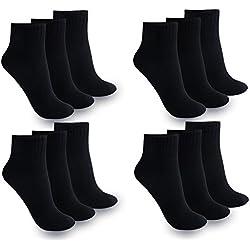 12 Paar Damen Herren Quarter Kurzsocken Sneaker Socken (39-42 l Damen, Quarter Schwarz / 12 Paar)