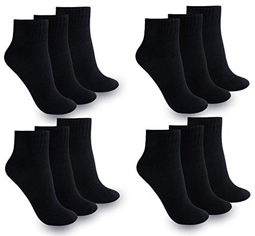 12 Paar Damen Herren Quarter Kurzsocken Sneaker Socken (39-42   Herren, Quarter Schwarz / 12 Paar)