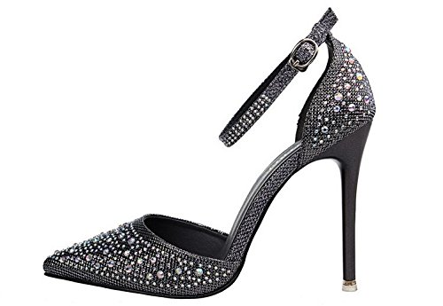 Boucle Aiguilles Chaussure Mariage Escarpins Bout Pointu Haute Talons Sandales Strass Princesse Bride Cheville Gris wealsex 8gXx4HTqwg