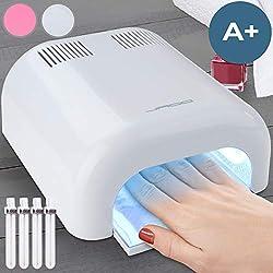 Jago UV Lampe für Nägel | 36 Watt, Schnelles Trocknen dank 4 ca. 9-Watt-Lampen, Arbeitsmodi: ca. 120-Sek.-Timer/Dauerbetrieb | UV Nageltrockner, UV Lichthärtungsgerät Lichthärtegerät Farbwahl (Rose, Weiß)