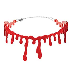 Halloween Horrible Necklace Blood Drip Choker, BuycheapDG Halloween Costume Fancy Necklace for Halloween/Cosplay Party Accessories Club, Style1